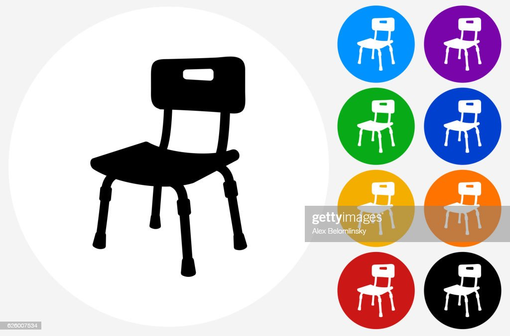 Disabled Chair Icon On Flat Color Circle Buttons Vector Art | Getty ...