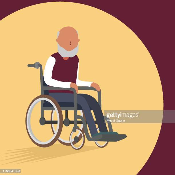 disabled chair old man - wheelchair stock illustrations, clip art, cartoons, & icons