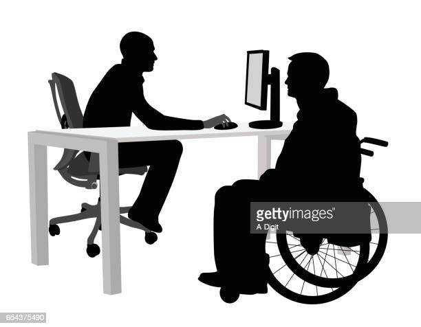 disabled client at the office - wheelchair stock illustrations, clip art, cartoons, & icons