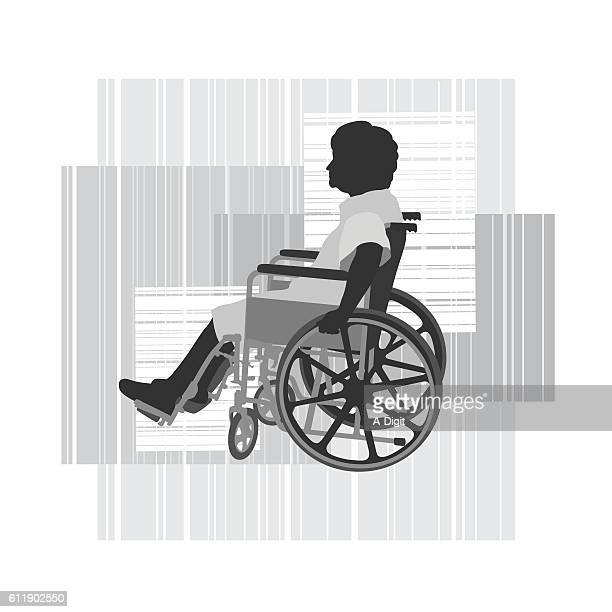 disabled elderly woman in wheelchair vector silhouette - wheelchair stock illustrations, clip art, cartoons, & icons