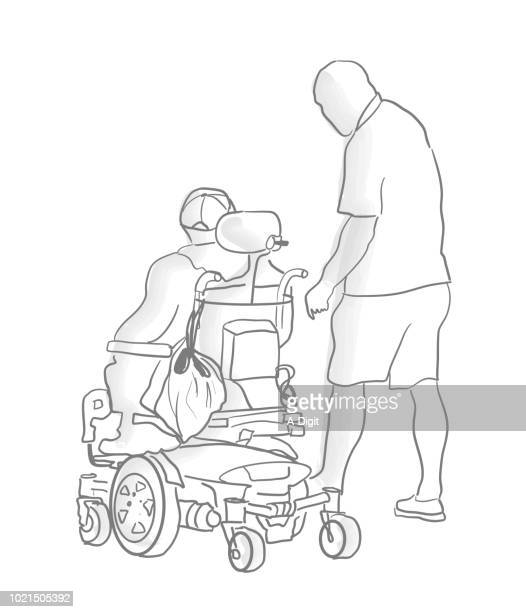 disabled friend and family - paralysis stock illustrations, clip art, cartoons, & icons