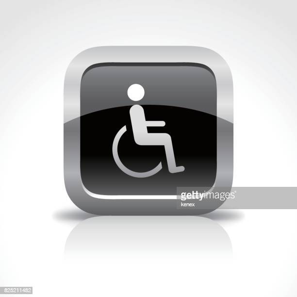 disabled handicap glossy button icon - assistive technology stock illustrations, clip art, cartoons, & icons