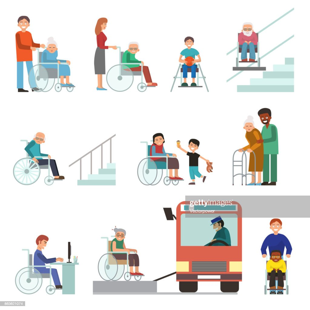 Disabled handicapped diverse people wheelchair invalid person help disability characters vector illustration