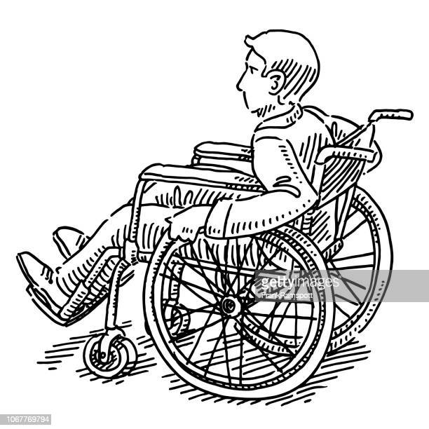 disabled man in a wheelchair drawing - disability stock illustrations, clip art, cartoons, & icons