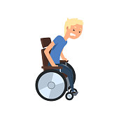 Disabled man trying to get up from wheelchair, rehabilitation of disabled people concept vector Illustration on a white background