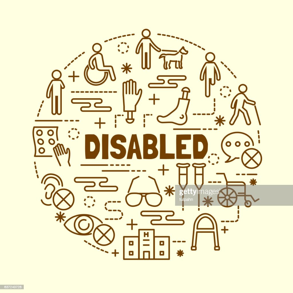 disabled minimal thin line icons set