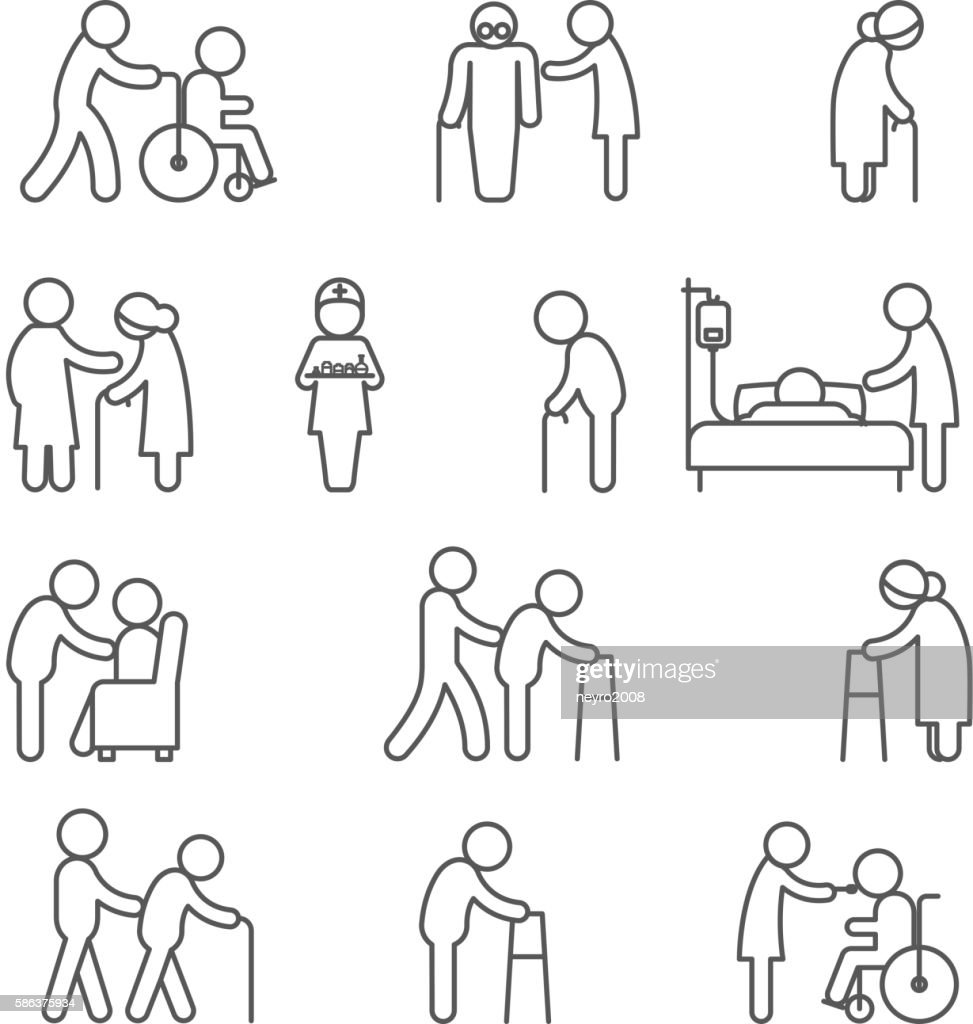Disabled nursing and healthcare icons