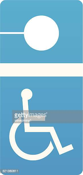 disabled parking sign - disabled sign stock illustrations, clip art, cartoons, & icons