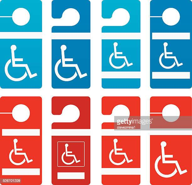 disabled parking signs - assistive technology stock illustrations, clip art, cartoons, & icons