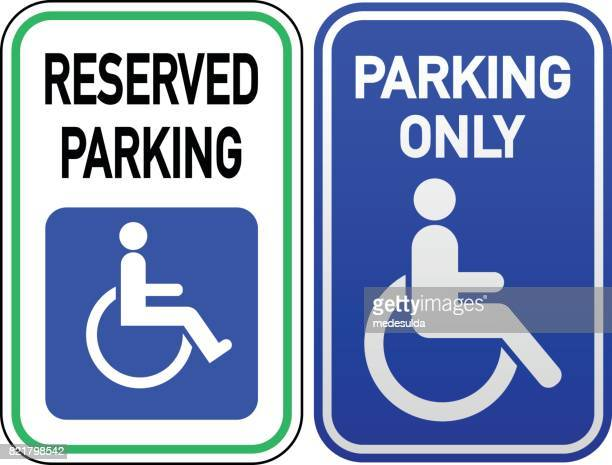 disabled parking - parking sign stock illustrations