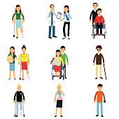 Disabled people characters, handicapped men and women getting medical treatment, health care assistance and accessibility vector Illustrations