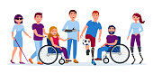 Disabled people with disabilities and prosthesis, blind woman, people on wheelchairs, High-Tech Running Prosthetics, Prosthetic Hand vector flat illustration. Men and women with incapability