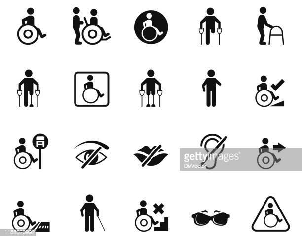 ilustraciones, imágenes clip art, dibujos animados e iconos de stock de conjunto de iconos de personas con discapacidad - accesibilidad para discapacitados
