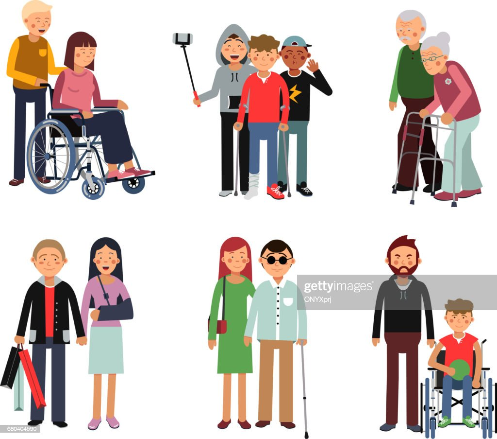 Disabled person with his helpful friends or volunteers. Vector flat style illustration of humans