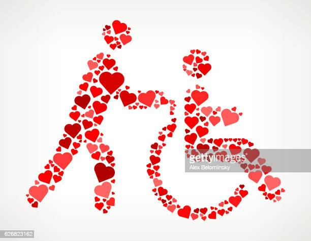 disabled service red hearts love pattern - disability stock illustrations, clip art, cartoons, & icons
