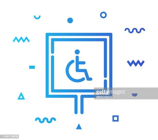 disabled sign line style icon design - assistive technology stock illustrations, clip art, cartoons, & icons