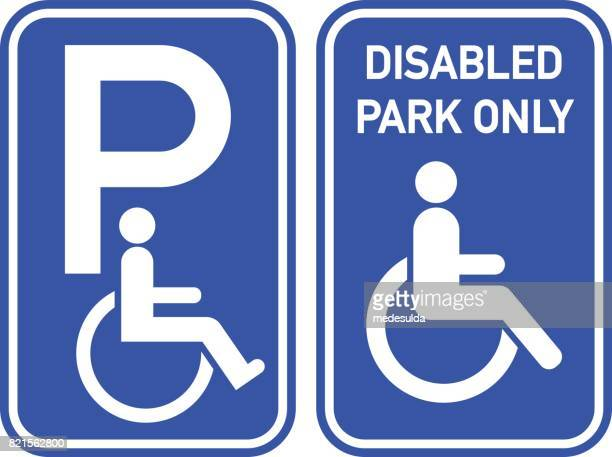 disabled sign - parking sign stock illustrations