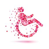 Disabled woman icon of rose petals