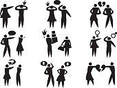 Disagreement Between Man Woman in Relationships Vector Icon Set