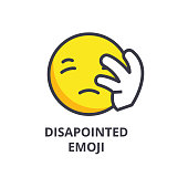 disapointed emoji vector line icon, sign, illustration on background, editable strokes
