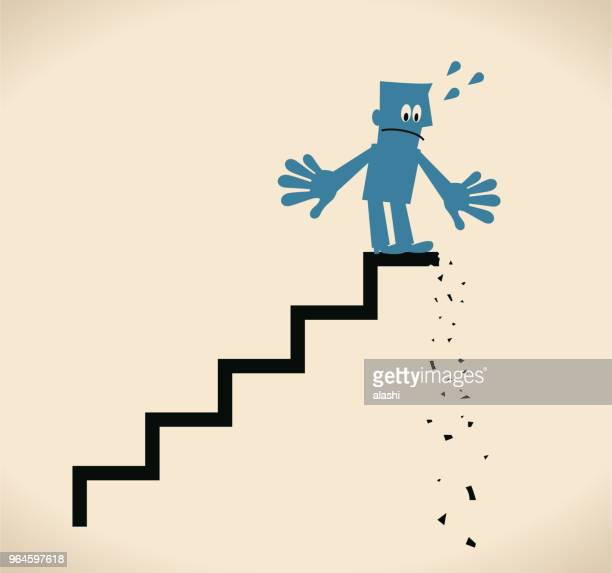 disappointed businessman standing on a broken steps - disappointment stock illustrations