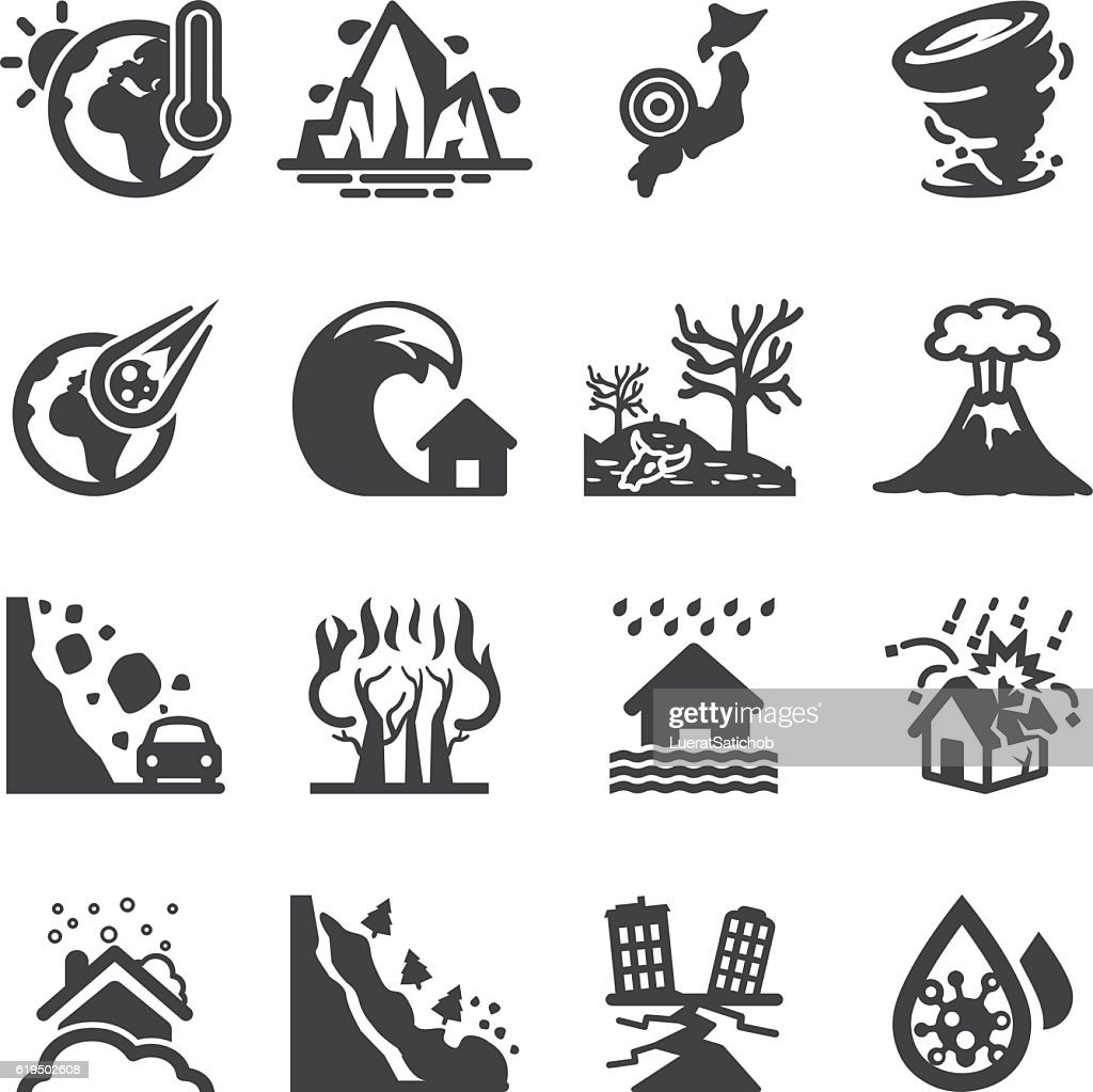 Disaster Accidents Silhouette Icons | EPS10 : stock illustration
