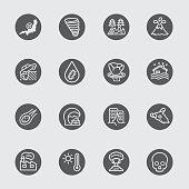 Disaster black circles line icon