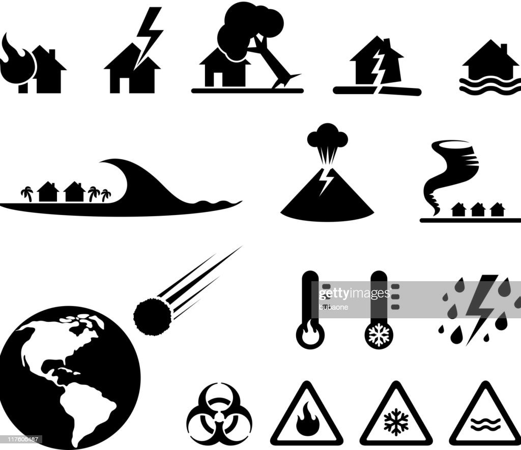 disaster black & white royalty free vector icon set : stock illustration