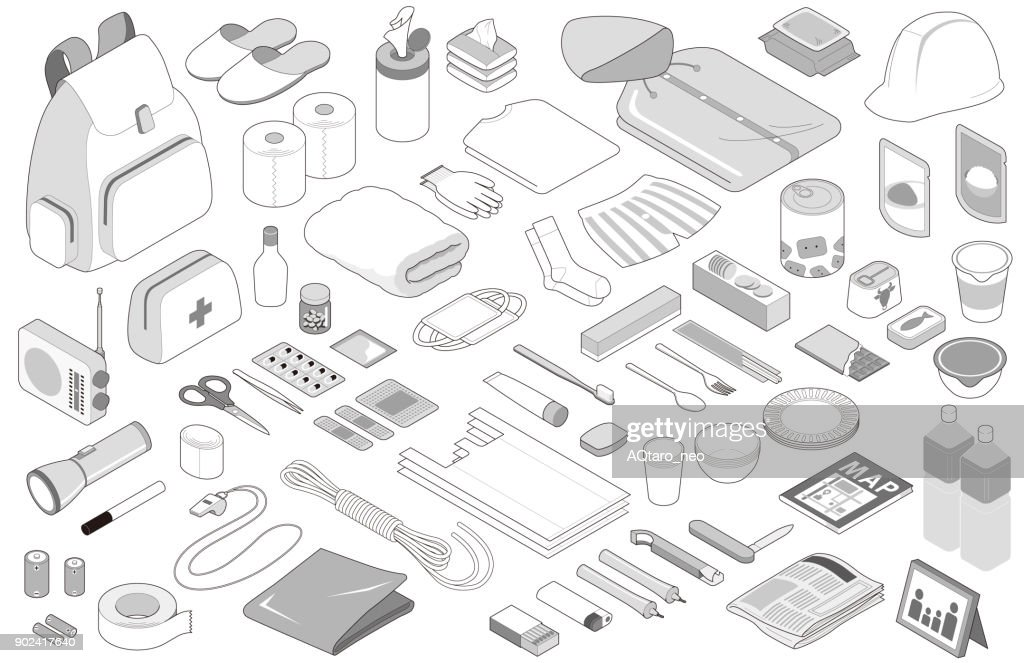 Disaster prevention goods, isolated on white background.