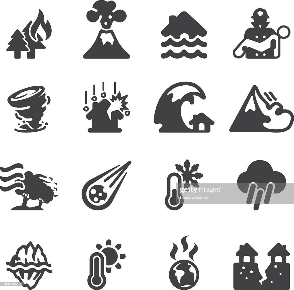 Disaster Silhouette icons | EPS10 : Stock Illustration