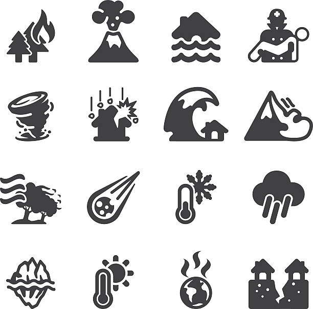 disaster silhouette icons   eps10 - melting stock illustrations