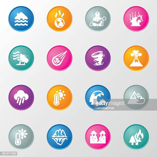 Disasters Circle Color Icons