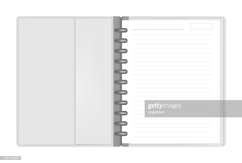 Disc bound letter size loose leaf note book with interior pocket spread