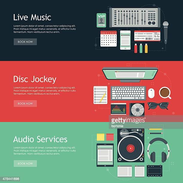 disc jockey flat design web banners icon sets - audio equipment stock illustrations, clip art, cartoons, & icons