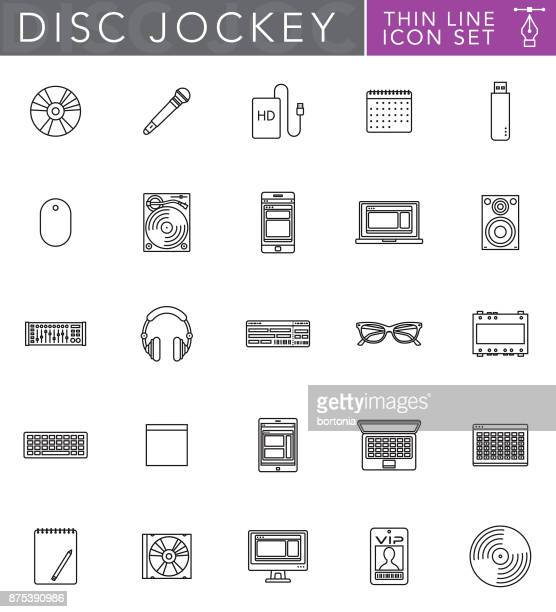 Disc Jockey Thin Line Icon Set in Flat Design Style