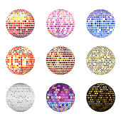 Disco ball discotheque music party night club dance equipment vector illustration