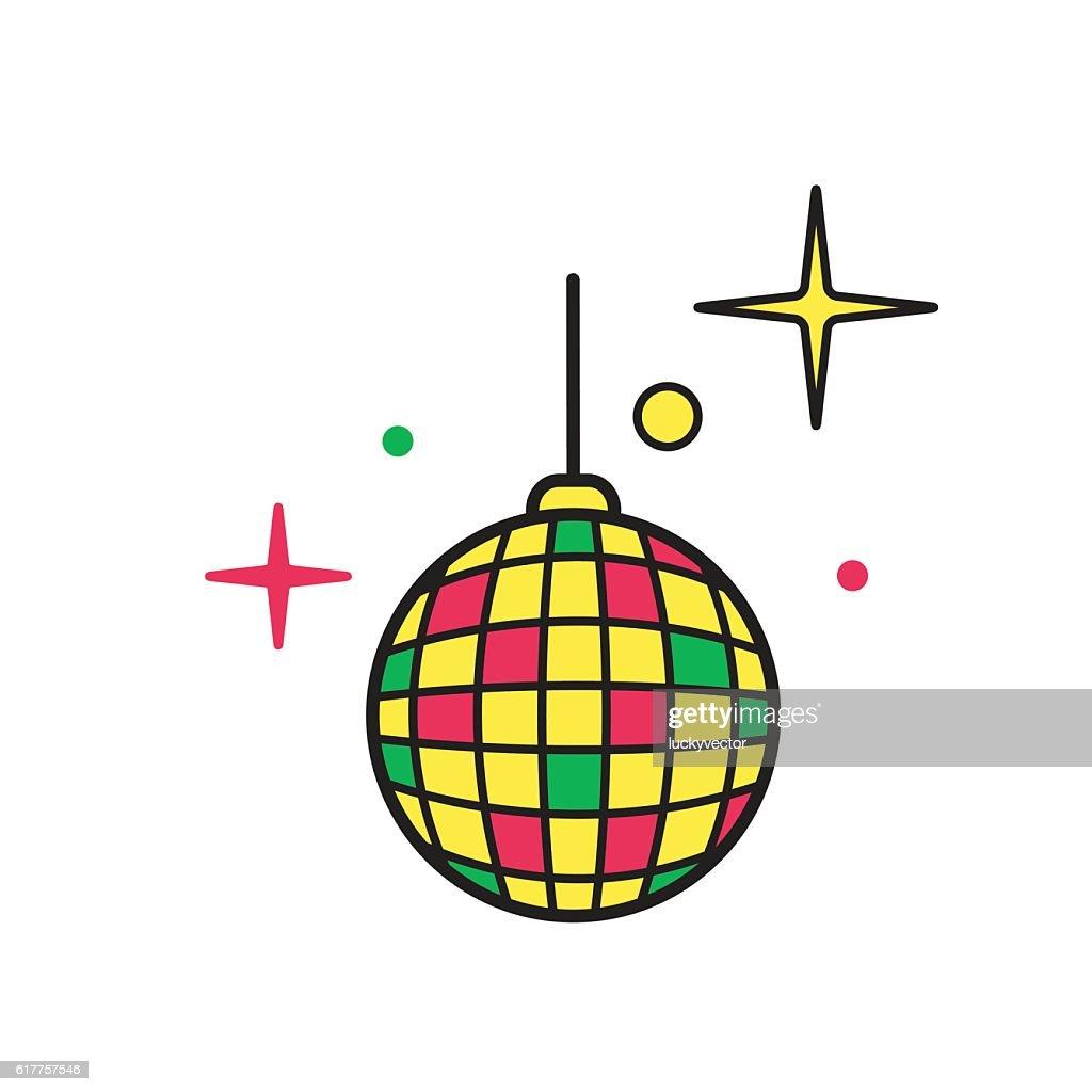 Disco ball icon vector. Shiny illuminated simbol.