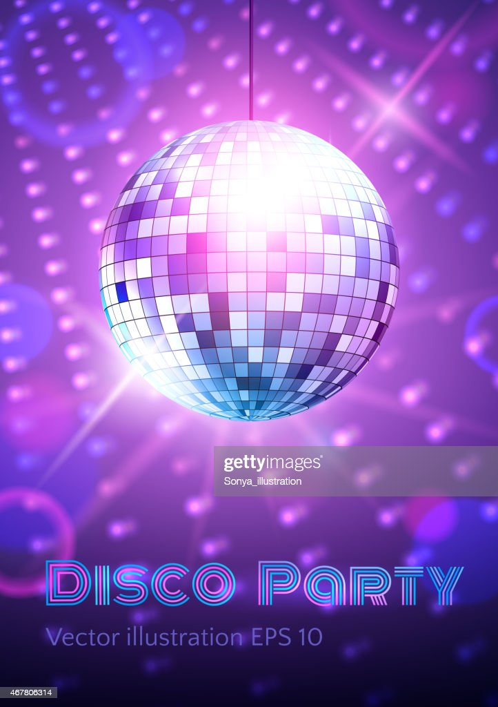 Disco ball on disco lights background.