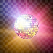 Disco ball with bright rays on transparent background, night party retro background. Vector illustration isolated on transparent background