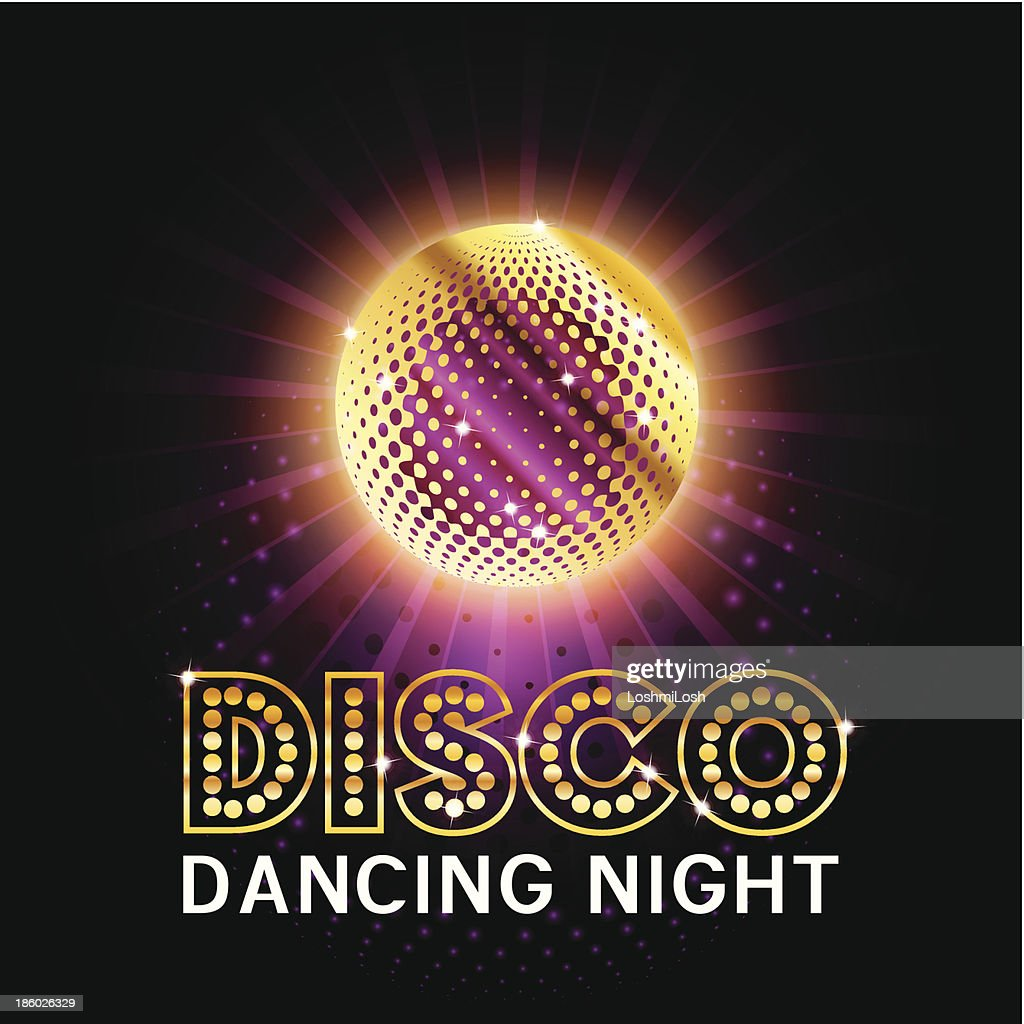 Disco Ball with glittering sign