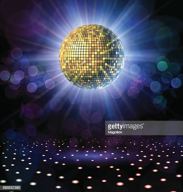 disco ball with rays - party stock-grafiken, -clipart, -cartoons und -symbole