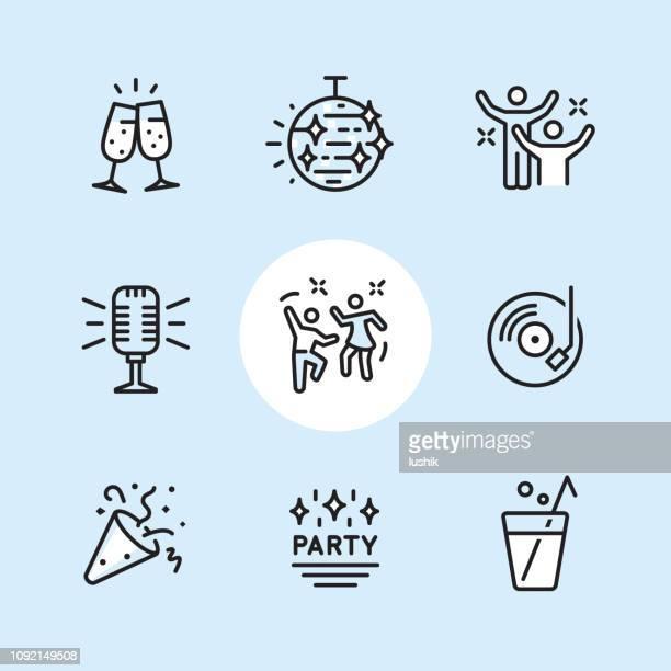 illustrazioni stock, clip art, cartoni animati e icone di tendenza di disco dancing - set di icone contorno - party