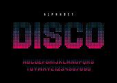 Disco dotted halftoned display font design, alphabet, typeface,
