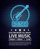 Disco electro music invitation poster