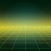 Disco floor, vintage dance background with neon green illumination, futuristic style light effect perspective. Party poster with strobing laser grid. Three dimensional banner.