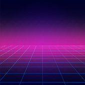 Disco floor, vintage dance background with neon illumination, futuristic style light effect perspective. Party poster with strobing laser grid. Three dimensional banner.