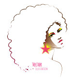 Disco girl with afro hairstyle.