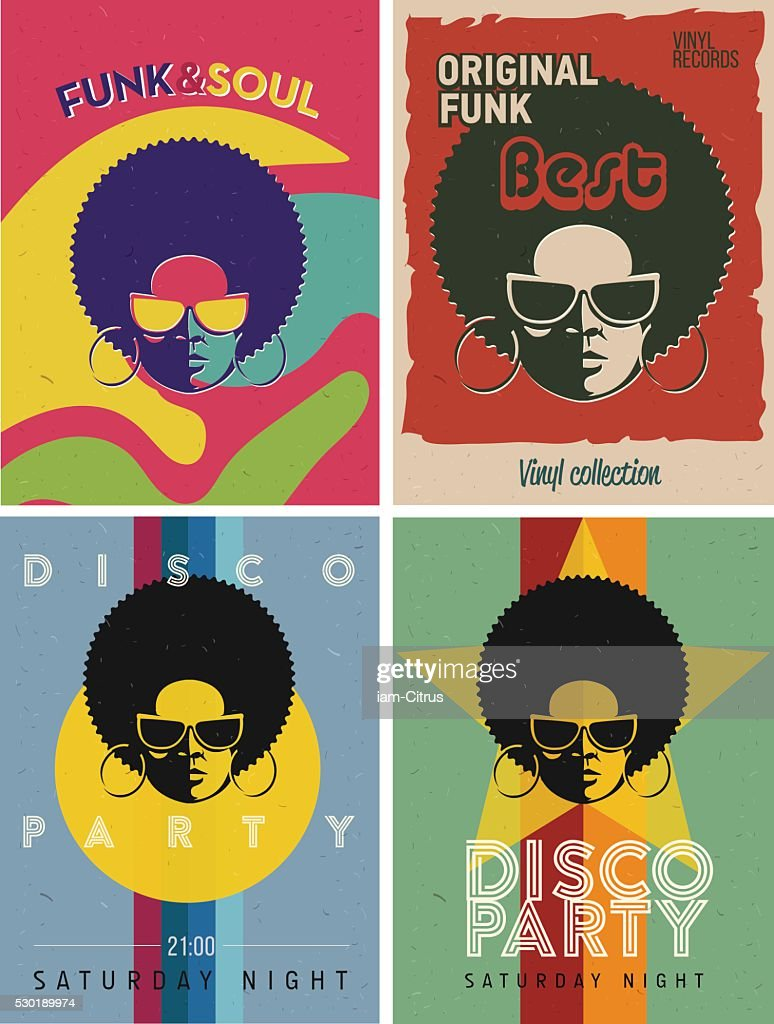 Disco party event flyers set. Collection of the vintage posters.