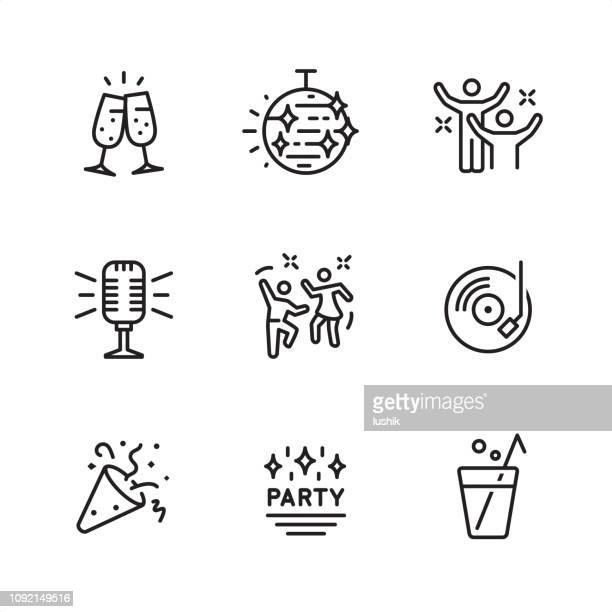 disco party - pixel perfect outline icons - dancing stock illustrations