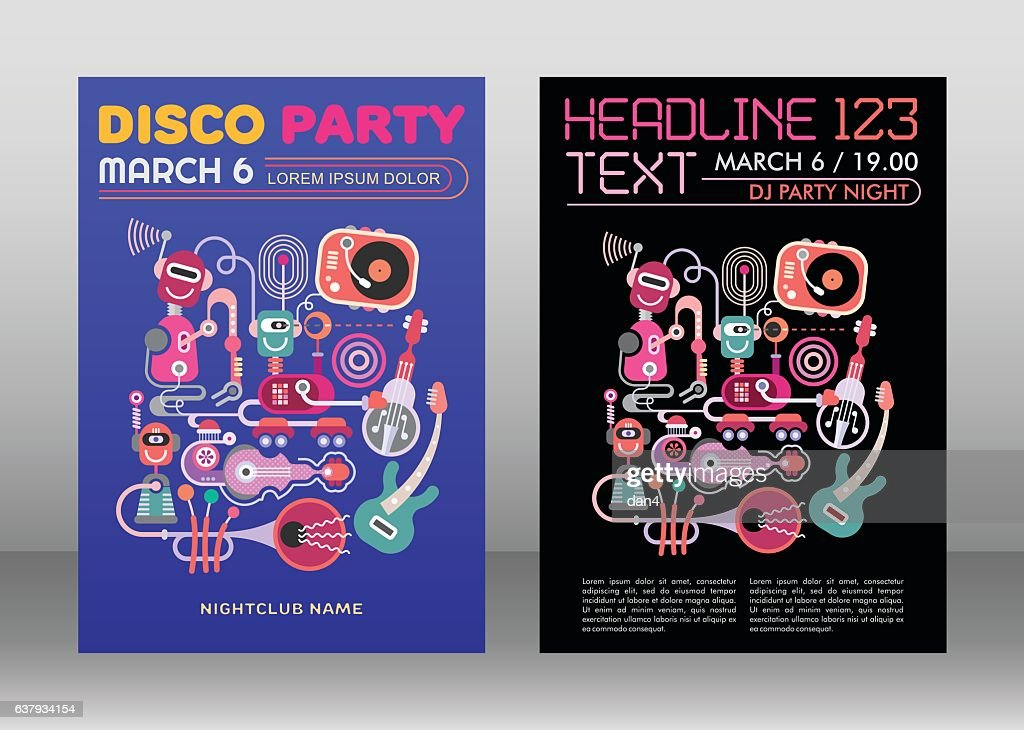 Disco Party Poster Template, size A4